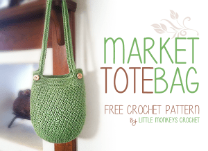 Market Tote Bag Free Crochet Pattern | by Little Monkeys Crochet | crochet, free pattern, free crochet pattern, crochet purse pattern, market bag, summer crochet