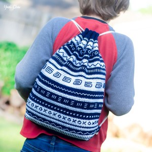 Mudcloth Bag | Backpack Cinch Bag Crochet Pattern by Yarn + Chai
