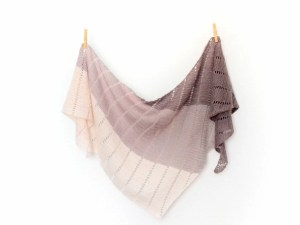 Blueberry popsicle shawl pinned in two places on the long side
