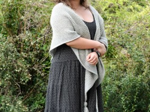 Phyllite - easy Tunisian crochet shawl worn around the shoulders