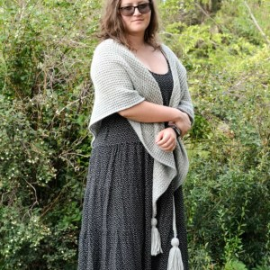 Phyllite - easy Tunisian crochet shawl worn around the shoulders