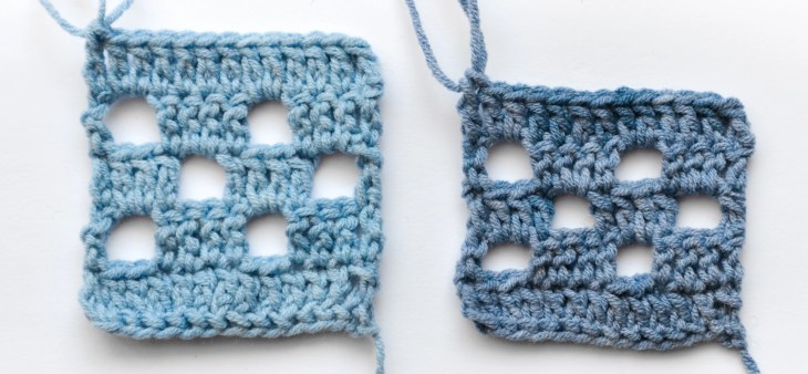 Two filet crochet swatches, a taller one on the left, using extended double crochet stitches, and a shorter one on the right, using double crochet stitches.