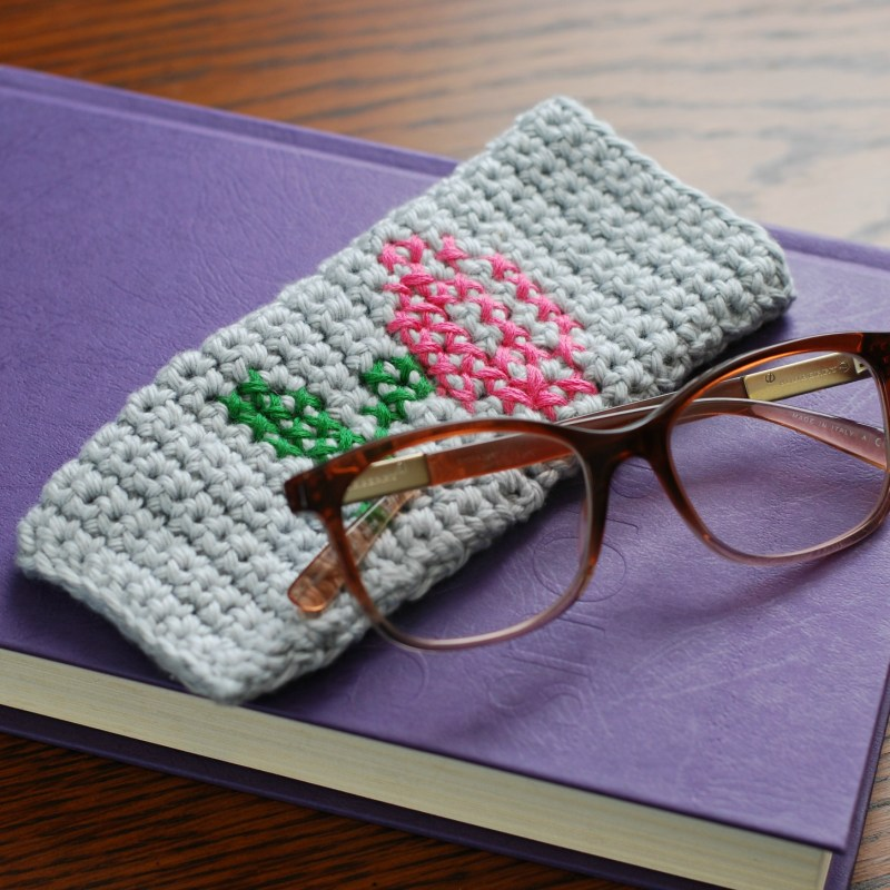 Cross-stitch Rose Crochet Eyeglass Case