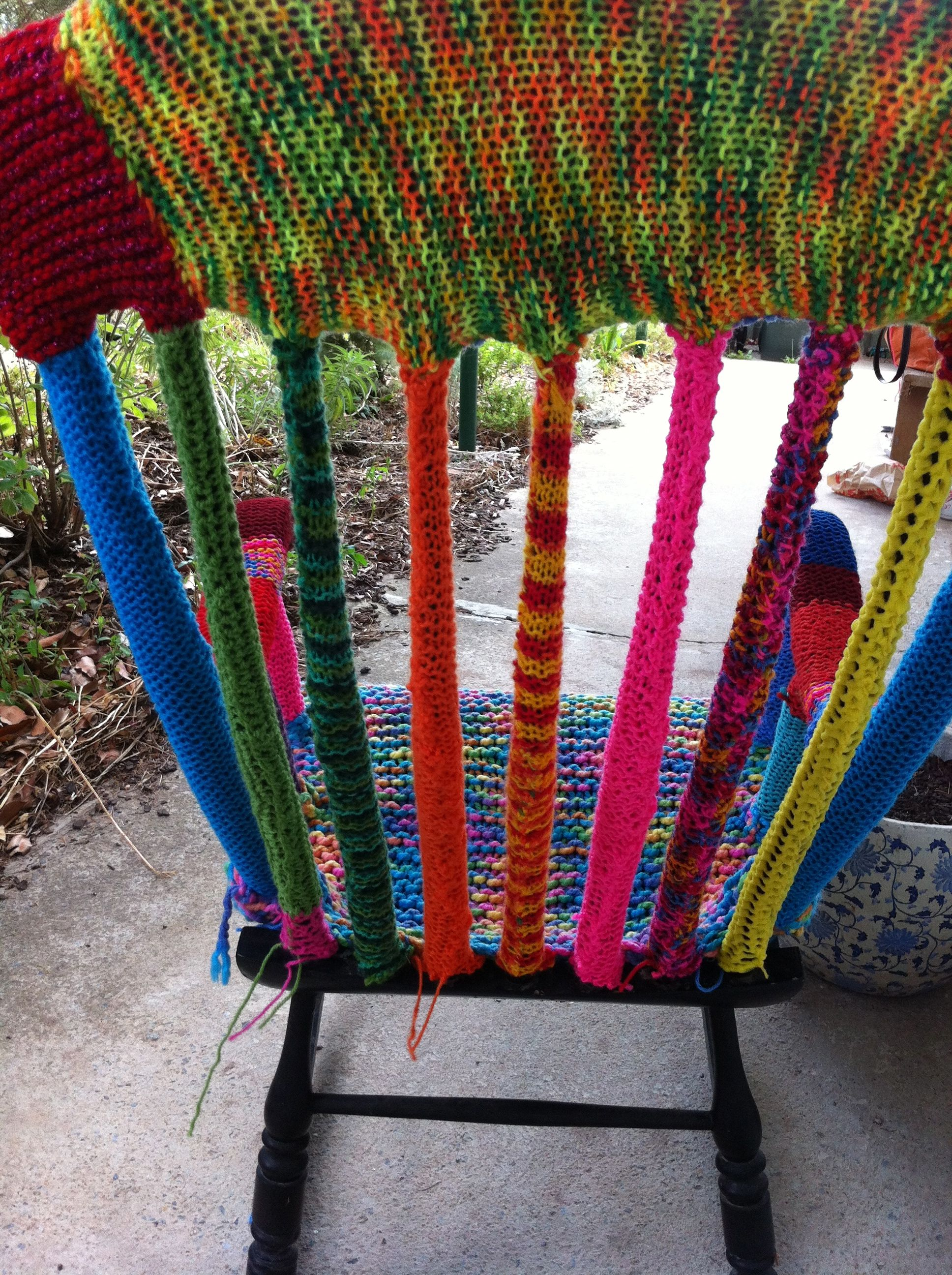 stool chair photography black covers brisbane yarn bombed   bombing