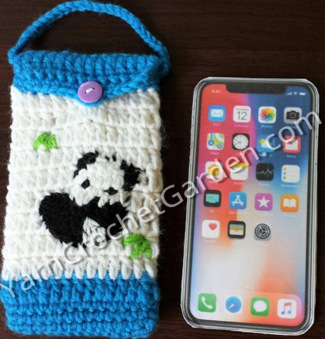 Crocheted Cell Phone Case Panda Free Shipping Yarn Crochet Garden