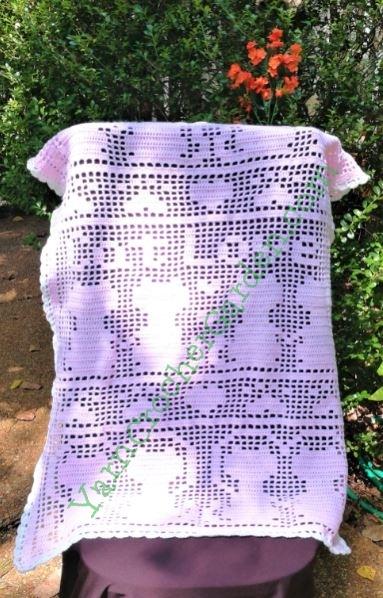 Crochet Pattern Blanket Cat Filet Paw Print Heart Mother's | Etsy | 598x383