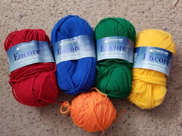 Encore Worsted yarn, primary colors are chosen