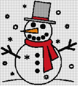 Snowman with Scarf – (Chart/Graph AND Row-by-Row Written Instructions)