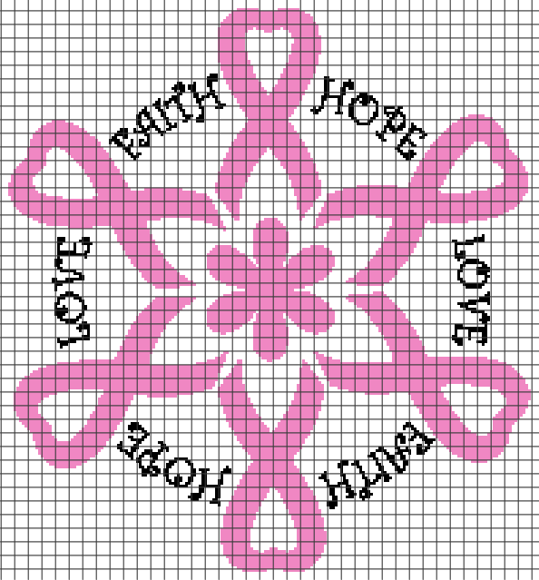 Breast Cancer – Faith, Hope, Love (Chart/Graph AND Row-by-Row Written Crochet Instructions) – 06
