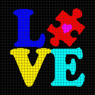 Autism – Love (Chart/Graph AND Row-by-Row Written Crochet Instructions) – 02