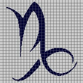 ribal Capricorn Symbol - Zodiac Sign (Graph AND Row-by-Row Written Crochet Instructions) - 01