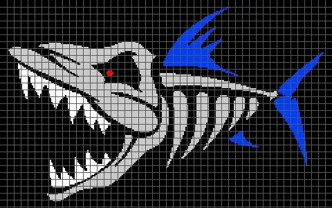 Evil Fish Skeleton (Graph AND Row-by-Row Written Crochet Instructions) – 01