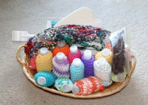 basket of crocheted items