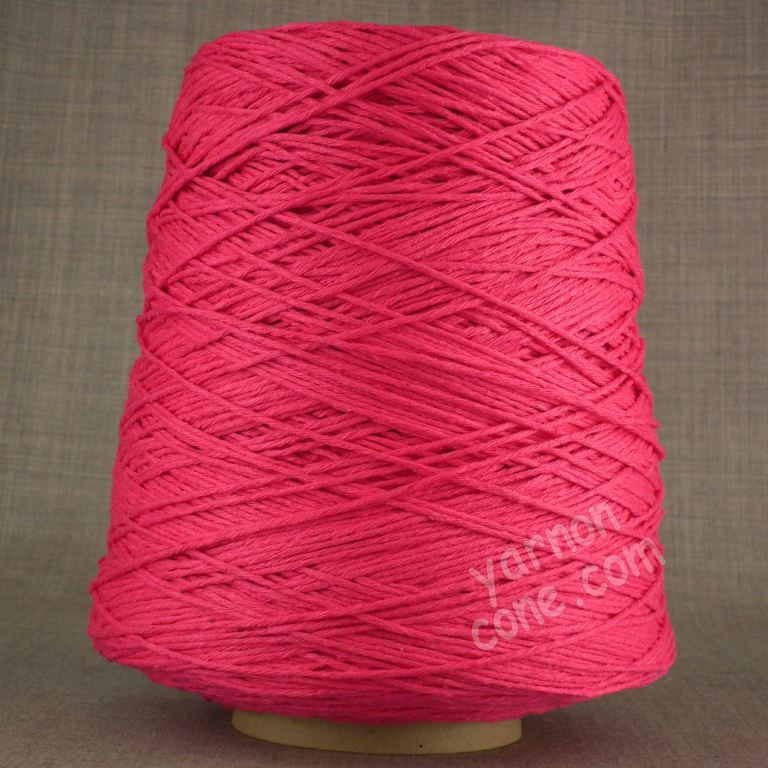 Double knitting DK soft pure cotton yarn on cone hand machine knitting weaving crochet cerise fuchsia pink bright
