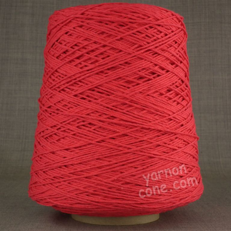 Double knitting DK soft pure cotton yarn on cone hand machine knitting weaving crochet cherry red pink