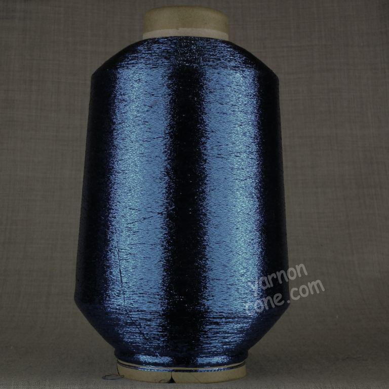 fine lurex metallic knitting machine coned yarn glitter sparkle shimmer navy blue