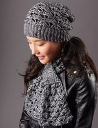 Patons Silver Screen Hat and Scarf, Crochet Pattern