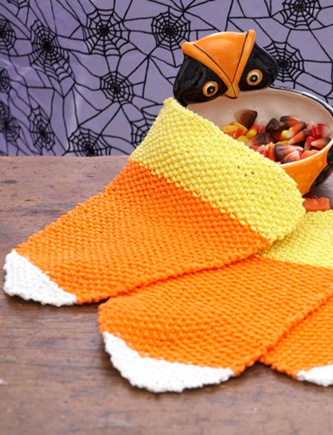 Lily Candy Corn Dishcloth Knit Pattern