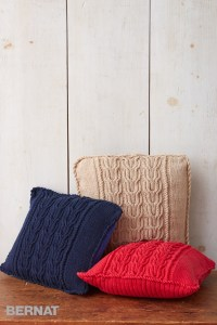 Bernat Cable Knit Trio Pillows, Knit Pattern