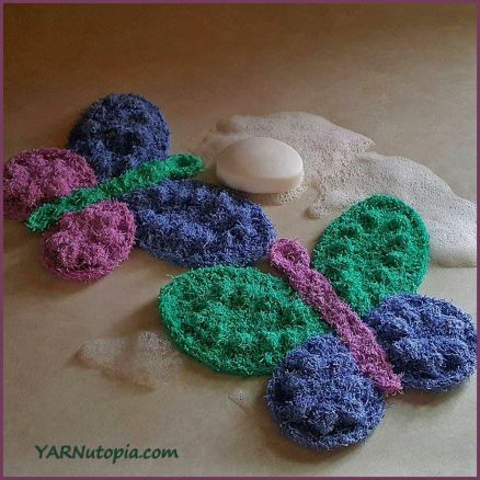 Crochet Tutorial Butterfly Scrubby Washcloth Yarnutopia By Nadia