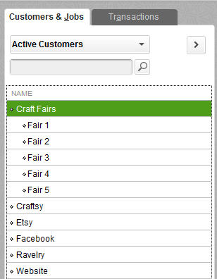 An expanded QuickBooks customer list