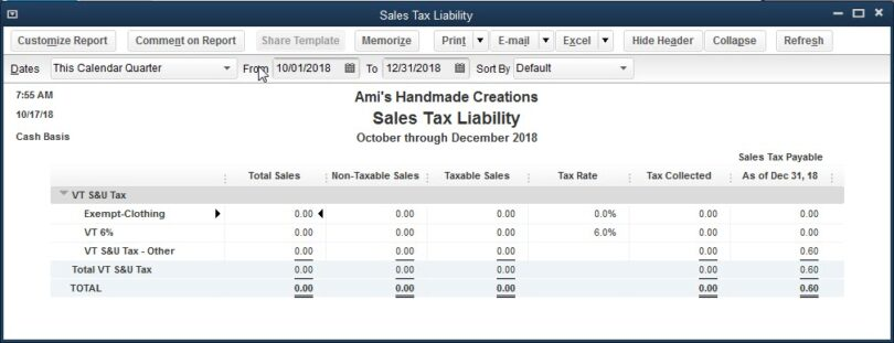 Use Tax on the Sales Tax Liability Report