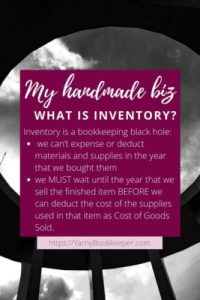 nventory is a bookkeeping black hole: we can't expense or deduct materials and supplies in the year that we bought them we MUST wait until the year that we sell the finished item BEFORE we can deduct the cost of the supplies used in that item as Cost of Goods Sold.
