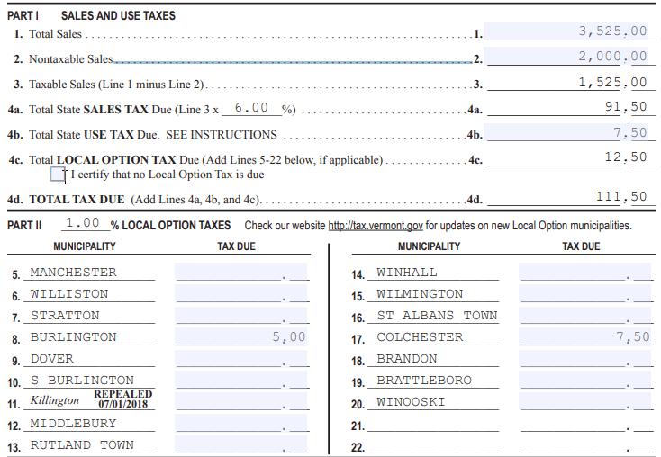 A sample Sales & Use Tax Return