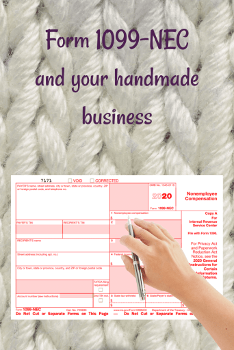 Form 1099-NEC reporting payments of $600 or more in your handmade business.