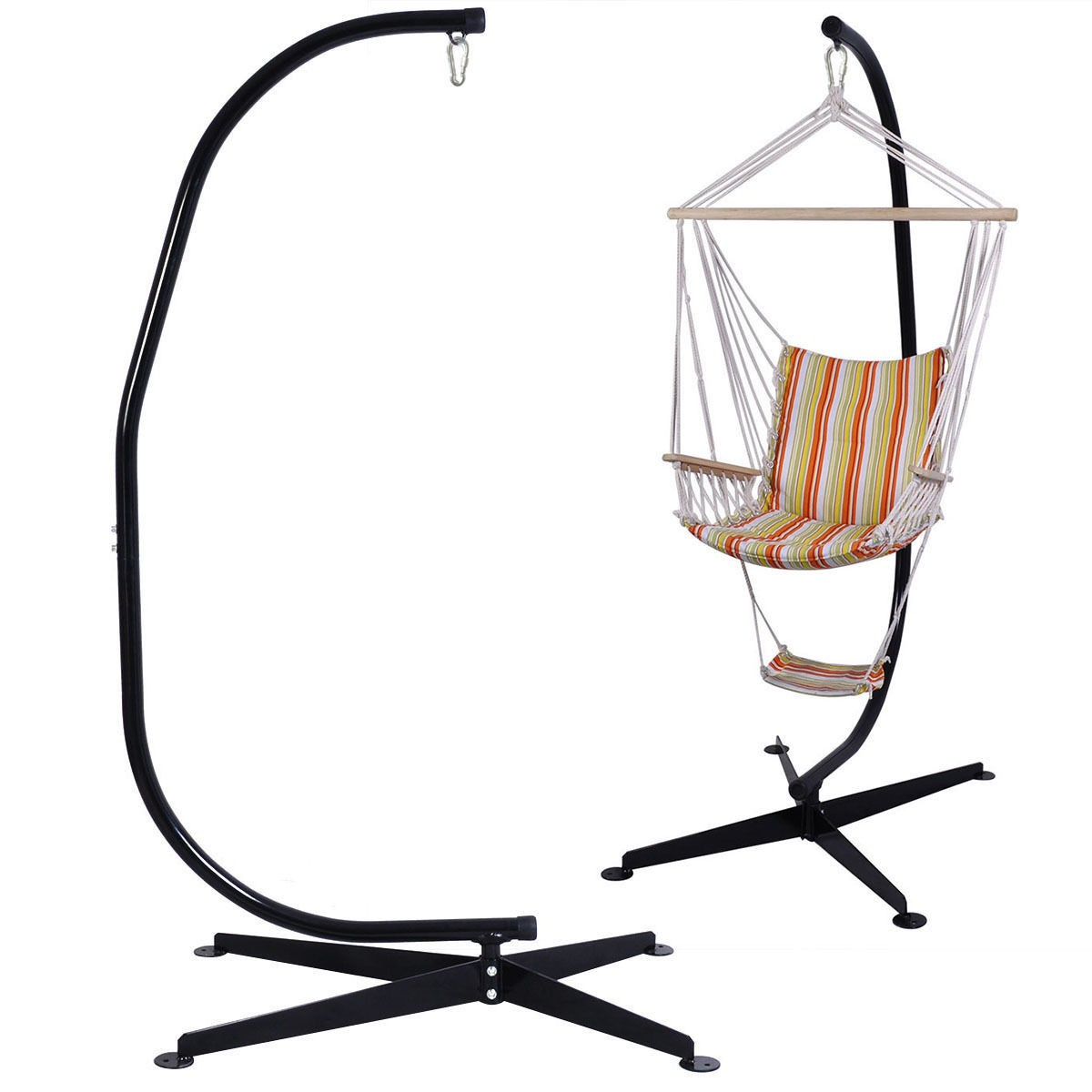 hammock chair with stand eddie bauer classic 3 in 1 wood high us solid steel c frame construction