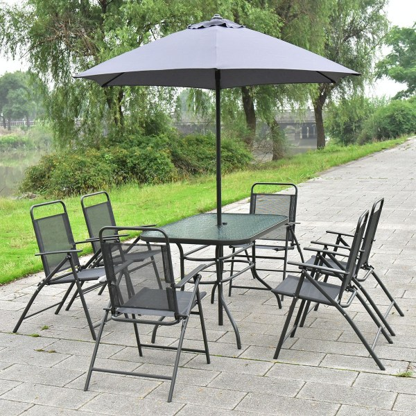 8 Pcs Patio Garden Set Furniture 6 Folding Chairs Table