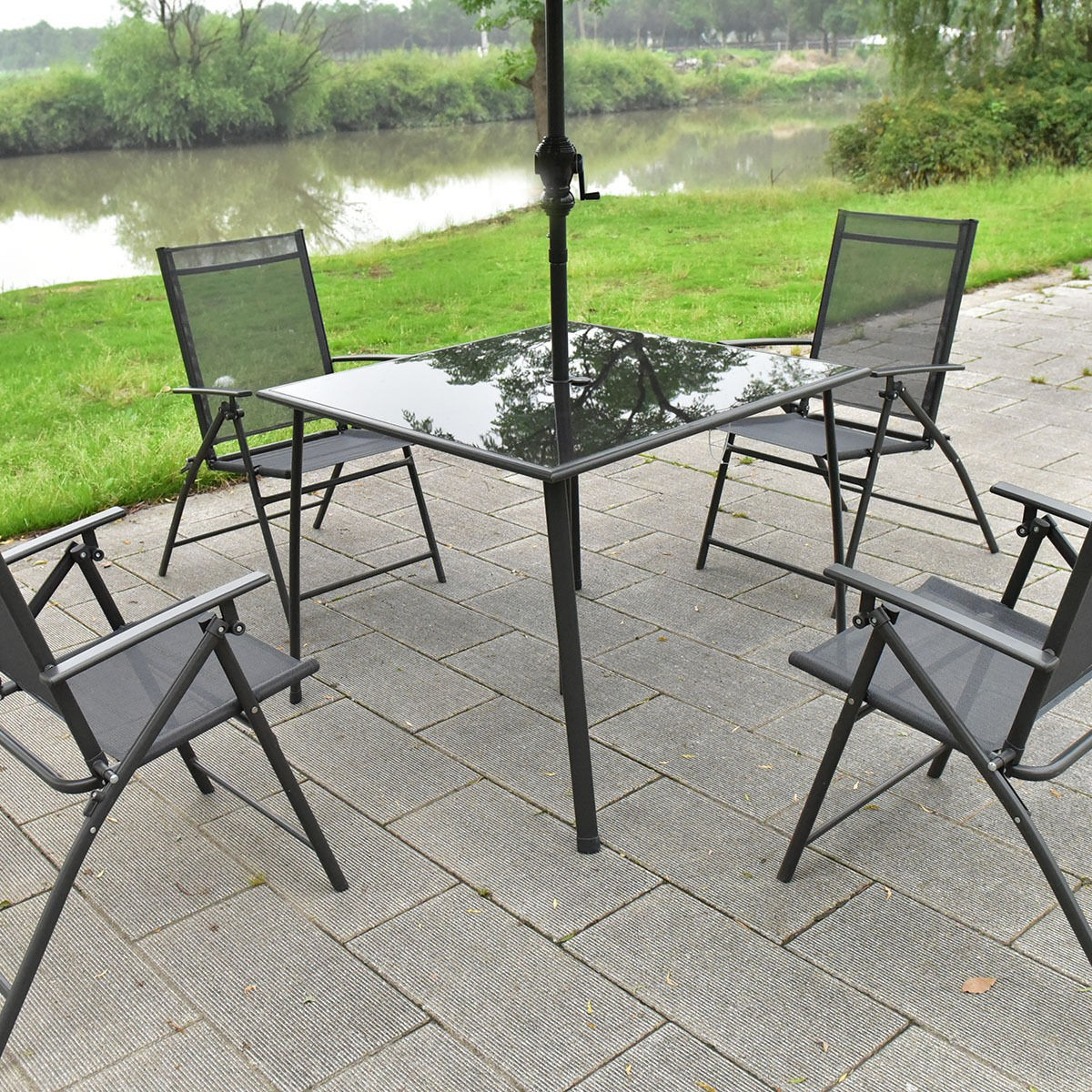 Folding Chairs With Umbrella 6pc Patio Garden Set Furniture 4 Folding Chairs Table With