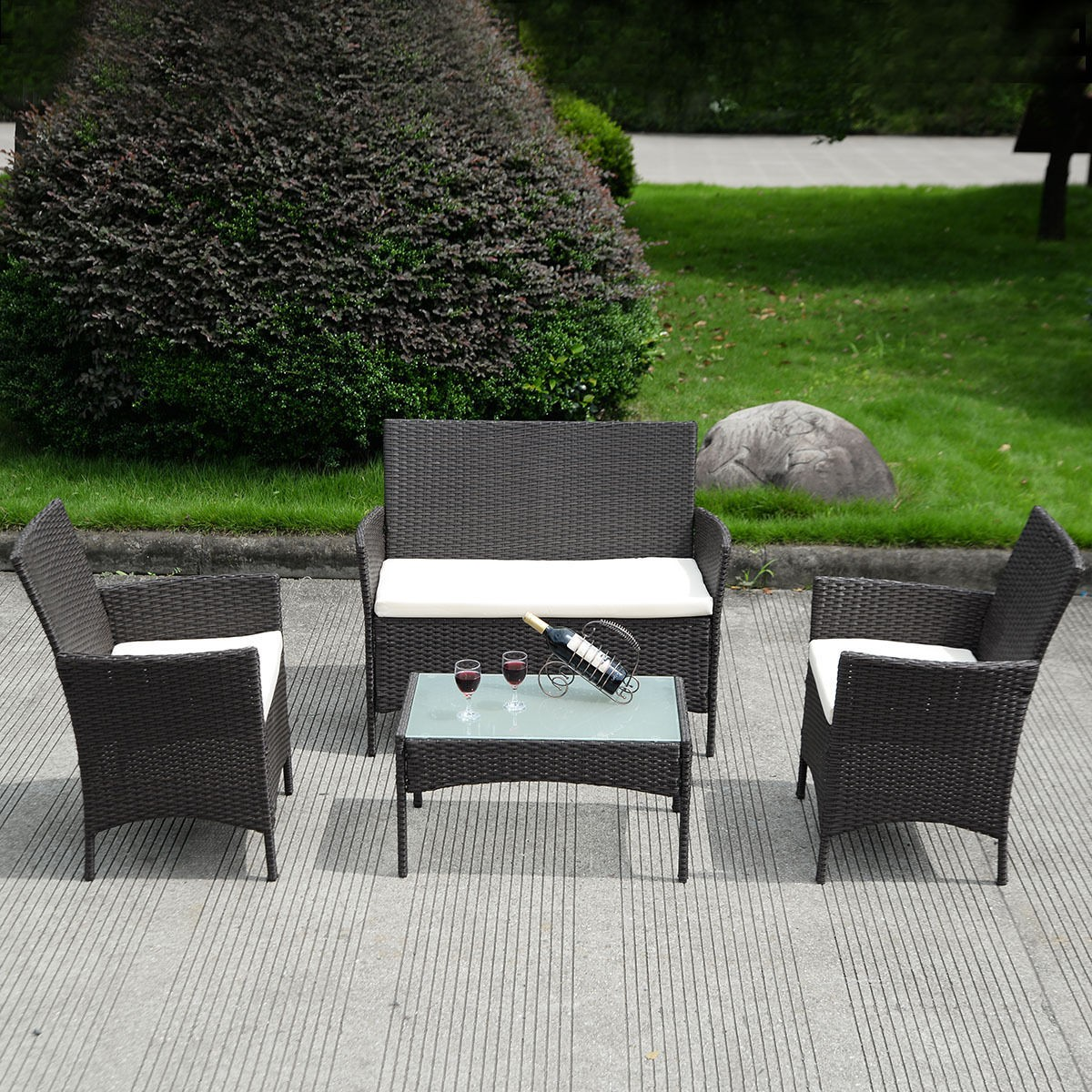 rattan garden chairs and table antique spindle rocking chair 4 pc patio wicker sofa set outdoor does not apply