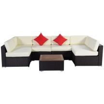 7pc Outdoor Patio Furniture Rattan Wicker Sofa Set Poly