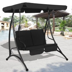 Hammock Chair With Canopy Hanging Birdcage 2 Person Swing Patio Seat Cushioned