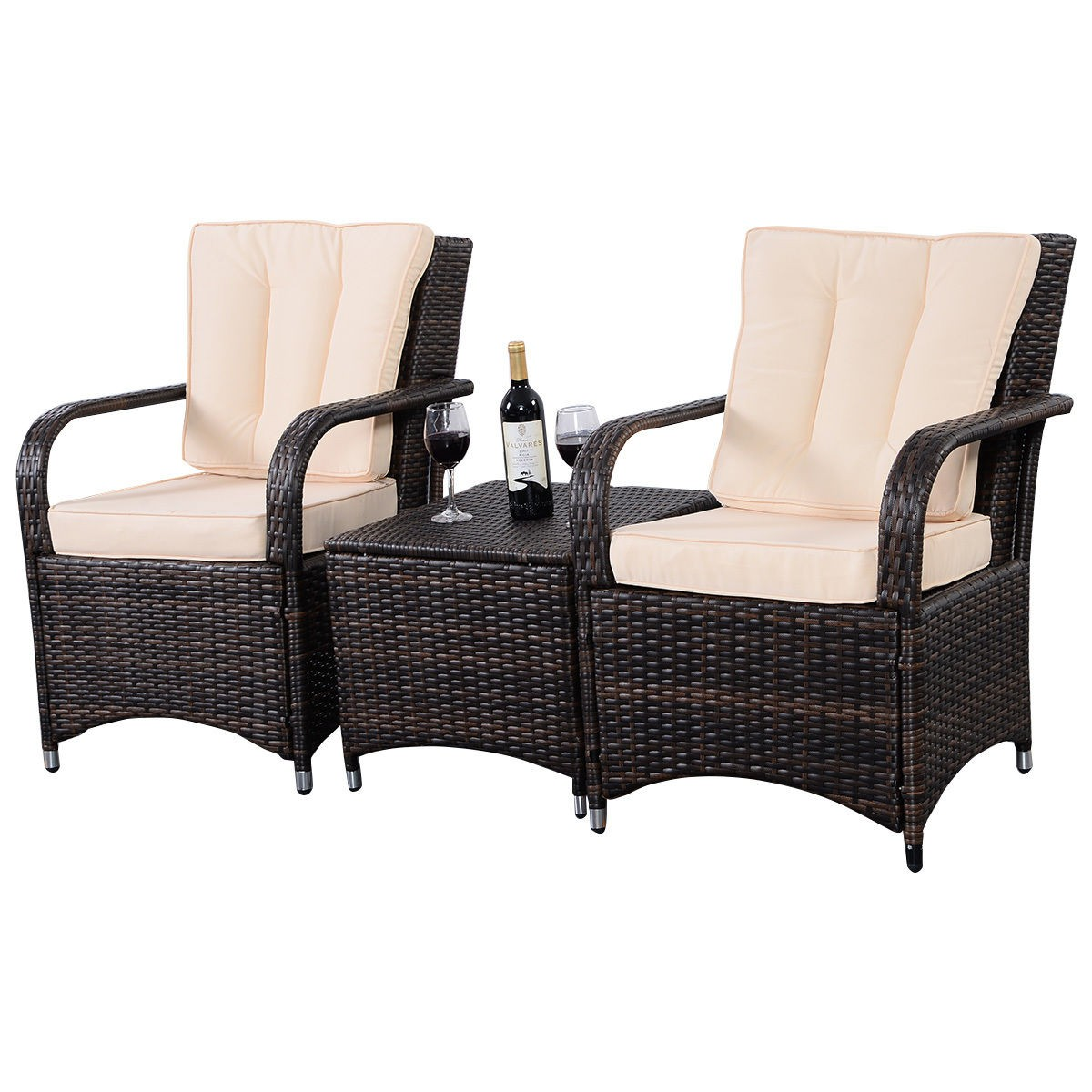 Wicker Patio Chair 3 Qualited Patio Pe Rattan Wicker Furniture Set Outdoor