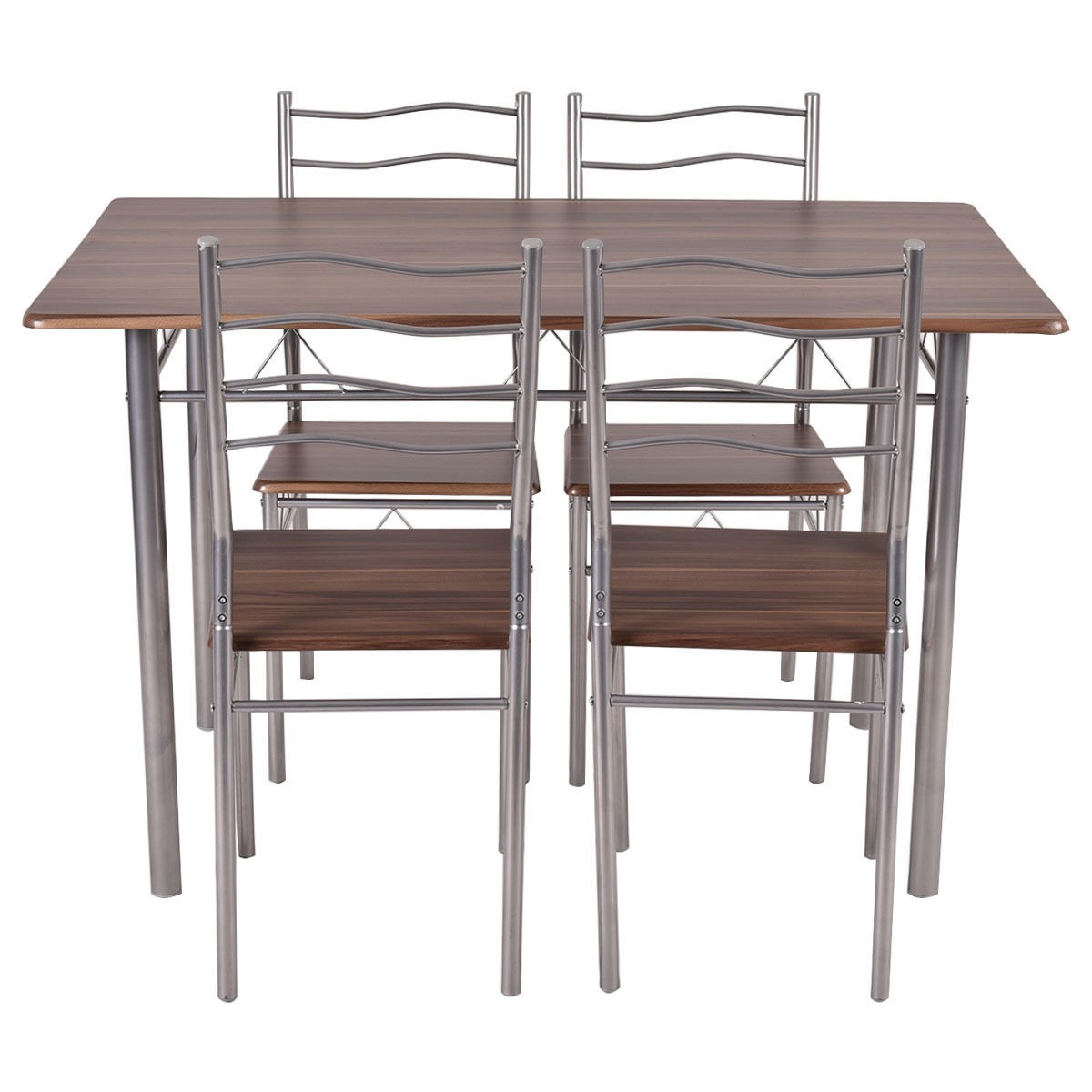 Wood And Metal Dining Chairs Set 5 Piece Dining Wood Metal Table And 4 Chairs Kitchen