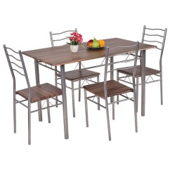 Steel Chair Dining Table Mahogany Room And 8 Chairs 5 Piece Set Wood Metal 4 Kitchen