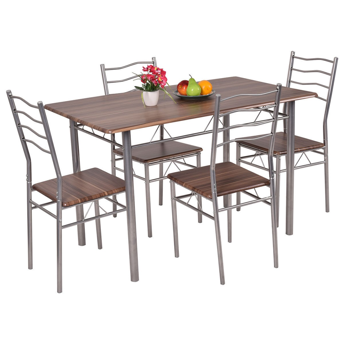 dining table with metal chairs foldable gym chair 5 piece set wood and 4 kitchen