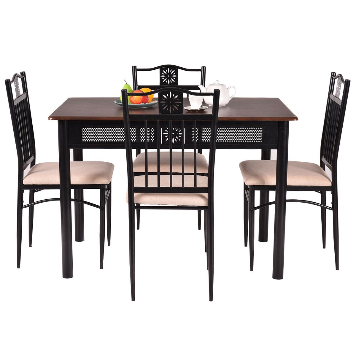 dining table with metal chairs herman miller eams chair 5 piece set wood and 4 kitchen