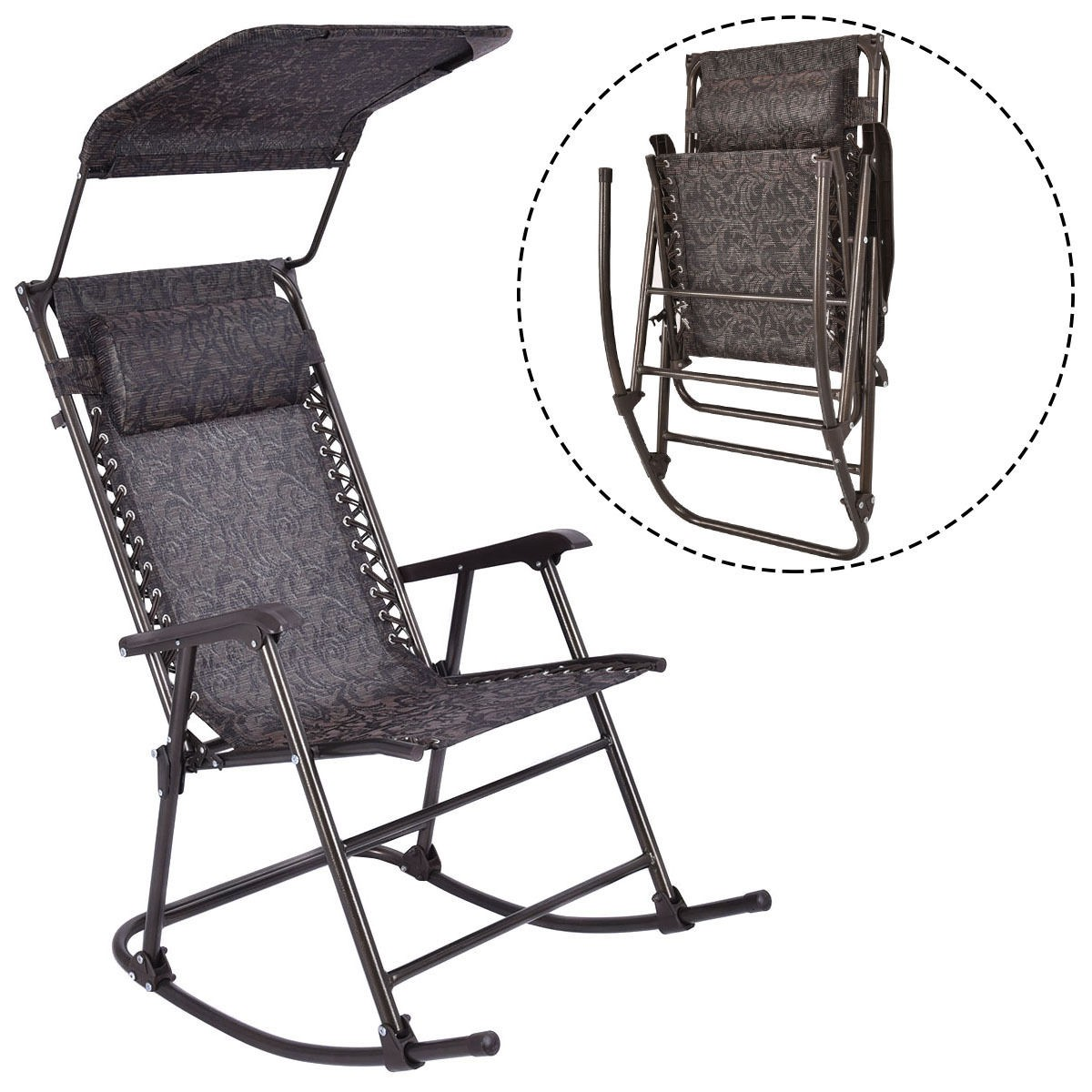 Camping Chairs With Canopy Outdoor Home Daddy Folding Rocking Chair Rocker Patio