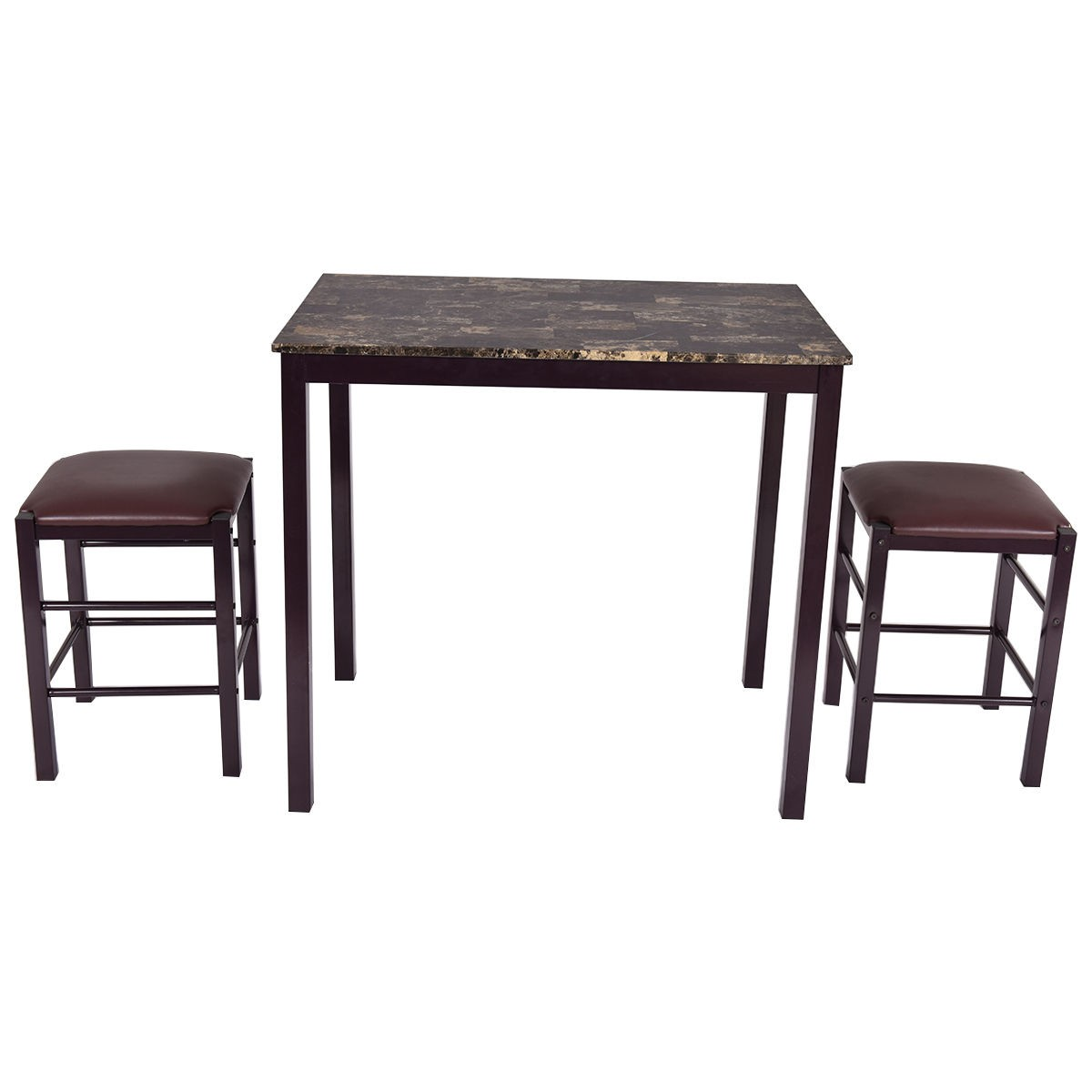Bar Height Kitchen Table And Chairs 3 Pcs Dining Counter Height Set Faux Marble Table 2 Chairs