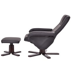 Leather Swivel Recliner Chair And Ottoman Bedroom Bubble Pu Executive Leisure