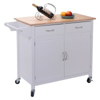 US Portable Kitchen Rolling Cart Wood Island Serving ...