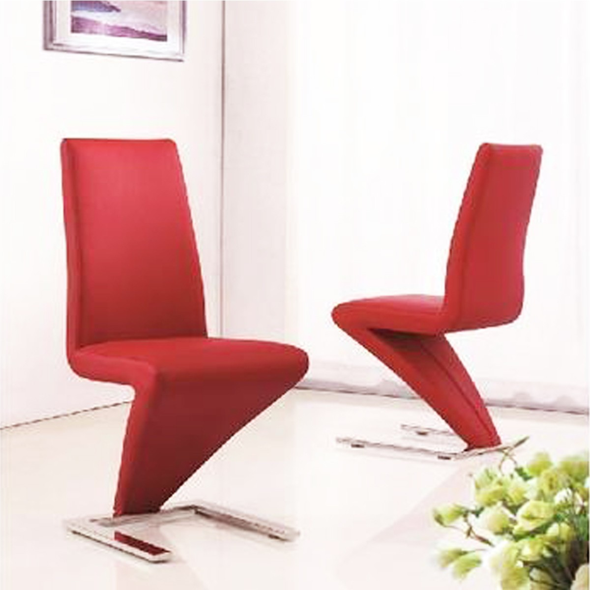 z shaped high chair reception room chairs back pu leather dining zigzag home