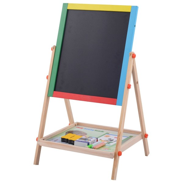 Kids Child Adjustable 2 In 1 Wooden Easel Chalk Drawing Board Black White