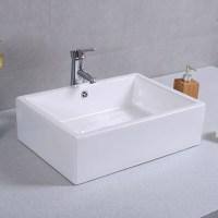 "20"" Ceramic Bathroom Sink Rectangle Vessel Bath Deck Mount ..."
