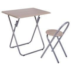 Portable Study Chair Silver Office Room Writing Desk Table Set Folding