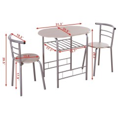 Small Bistro Table And Chair White Reading 3pcs Dining Set Kitchen Indoor Outdoor