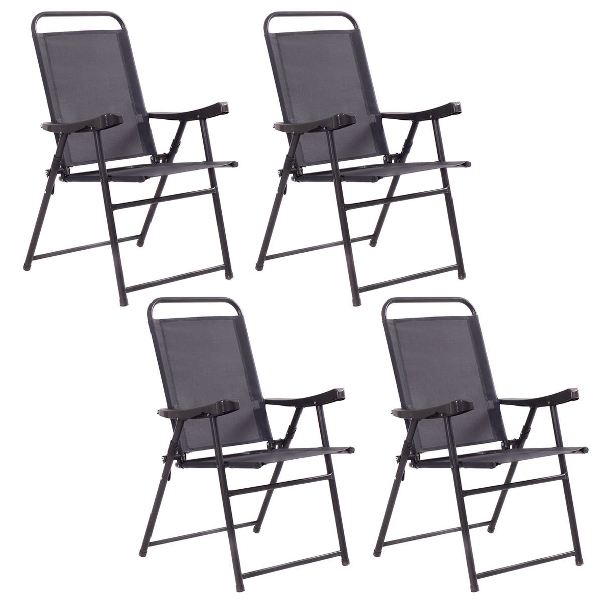 sling folding chairs stressless recliner 4pcs with armrest textiliene outdoor